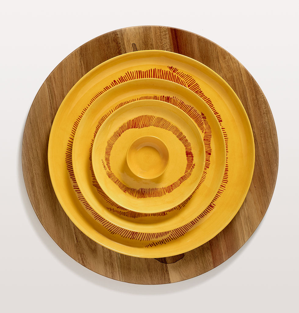 Ottolenghi x Serax. Sunny Yellow and Swirl Stripes Red small, large and serving plate with yellow cup and wooden tray. wagreen.co.uk
