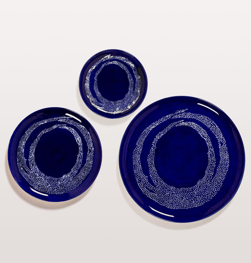 Ottolenghi x Serax. Lapis Lazuli & Swirl Dots White small and large plate and serving plate. wagreen.co.uk