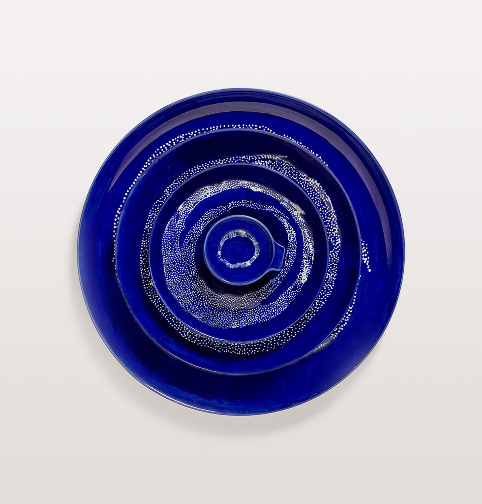 Ottolenghi x Serax. Lapis Lazuli & Swirl Dots White small and large plate and serving plate with Lapis Lazuli and Swirl Stripes White tapas plate. wagreen.co.uk