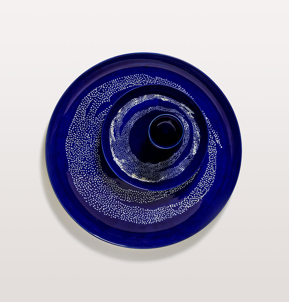 Ottolenghi x Serax. Lapis Lazuli & Swirl Dots White small plate and serving plate with cup. wagreen.co.uk