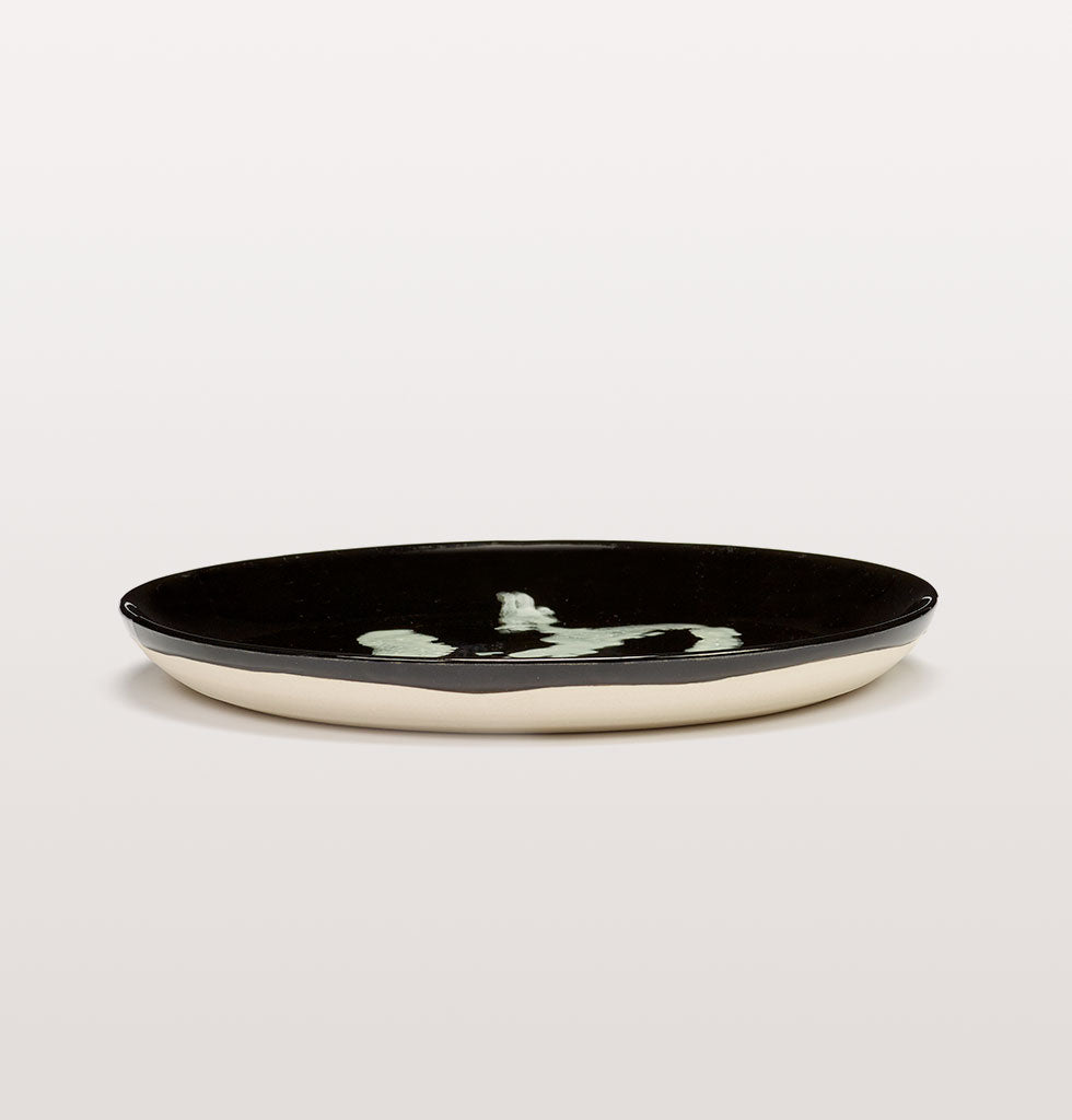 Ottolenghi x Serax. Black & Pepper White small plate side view. £20 wagreen.co.uk