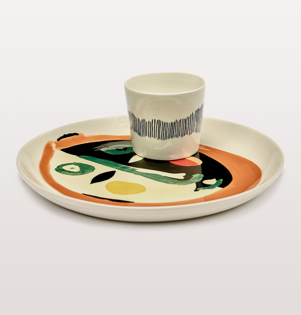 Ottolenghi x Serax. Face 1 medium plate with White and Stripes Blue espresso cup. wagreen.co.uk