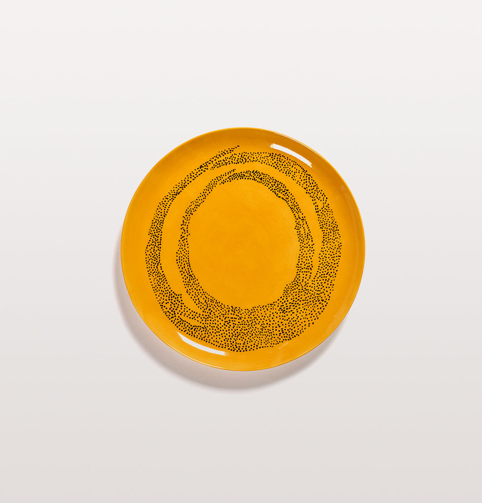 Ottolenghi x Serax. Sunny Yellow and Swirl Dots Black large plate. £30 wagreen.co.uk