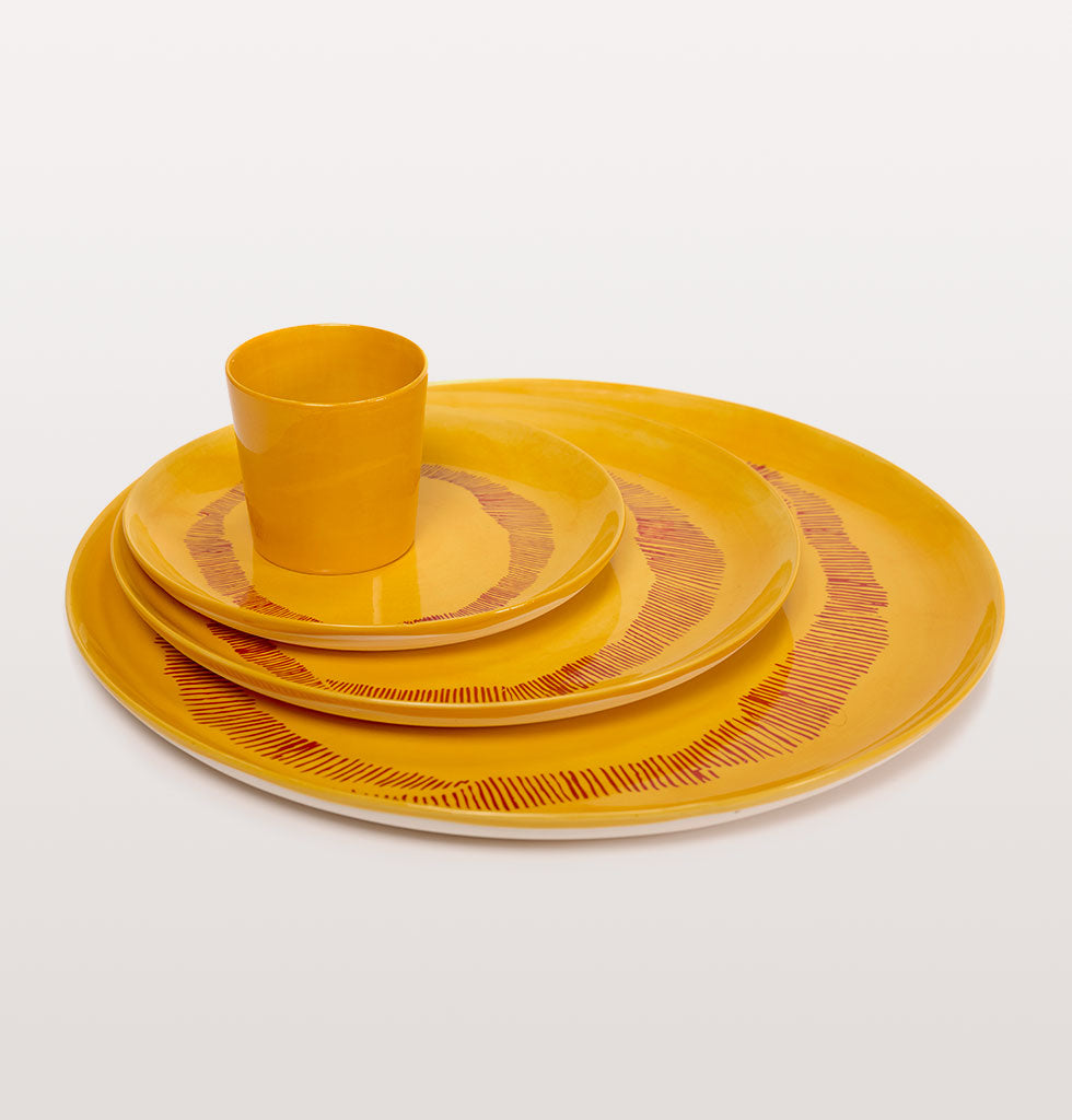 Ottolenghi x Serax. Sunny Yellow and Swirl Stripes Red small, large and serving plate with yellow cup. wagreen.co.uk