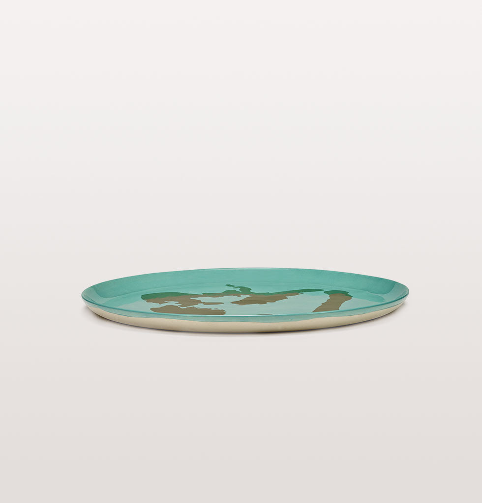 Ottolenghi x Serax. Azure and Pepper Gold serving plate side view. £85 wagreen.co.uk