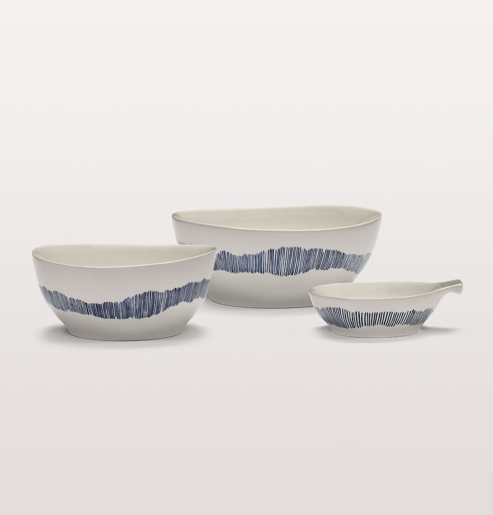 Ottolenghi x Serax. White and Swirl Stripes Blue small and large bowls with large tapas plate. wagreen.co.uk