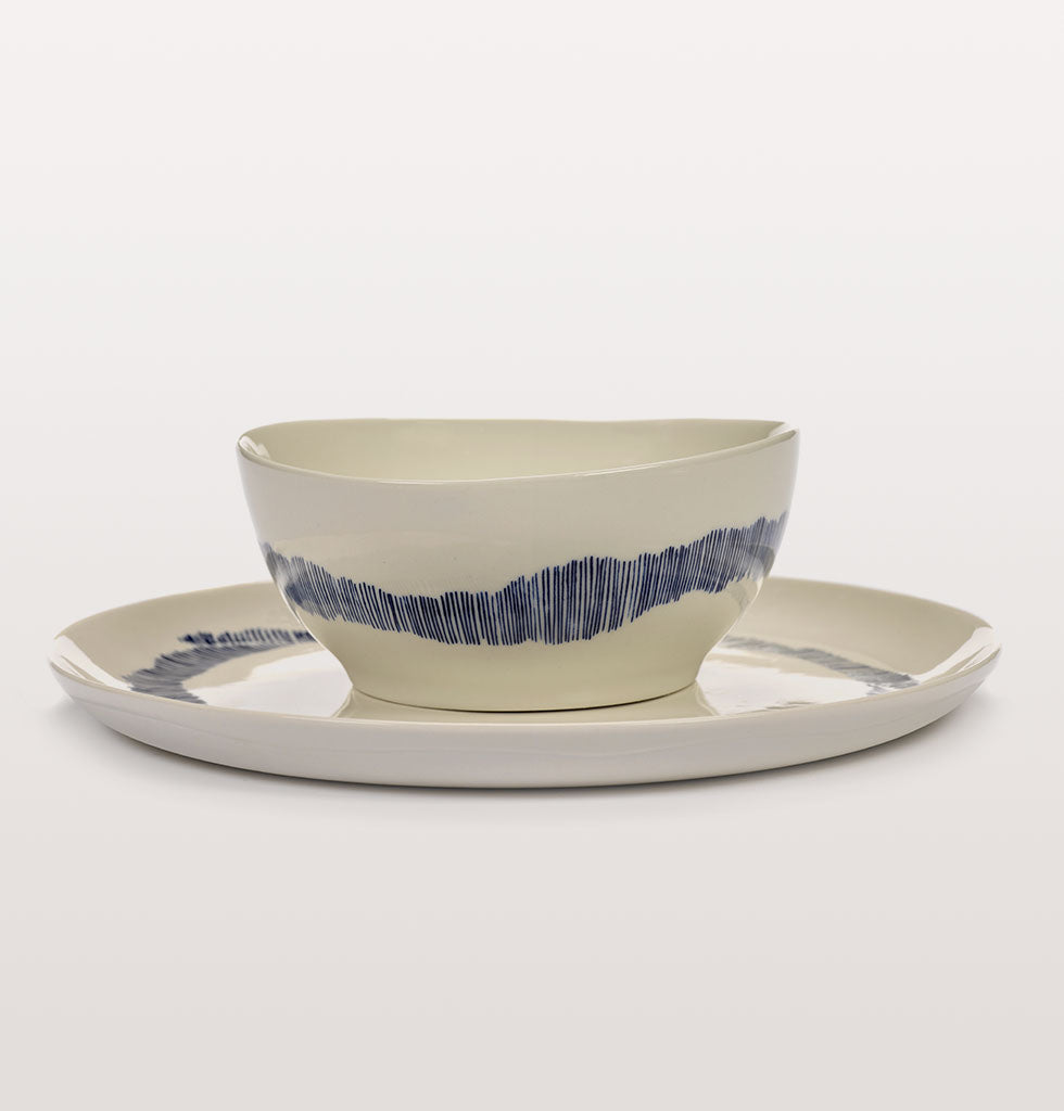 Ottolenghi x Serax. White and Swirl Stripes Blue small bowl and serving plate. wagreen.co.uk