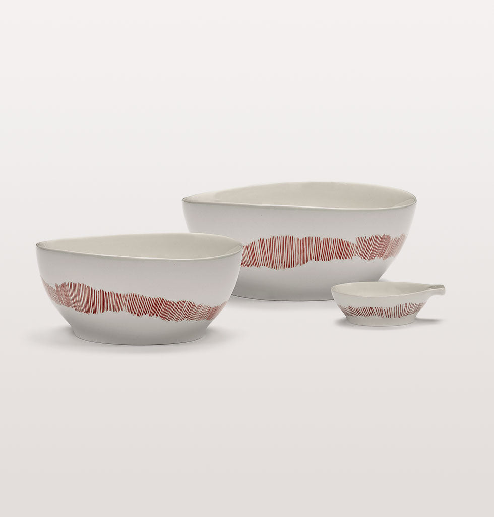 Ottolenghi x Serax. White and Swirl Stripes Red small and large bowls with small tapas plate. wagreen.co.uk