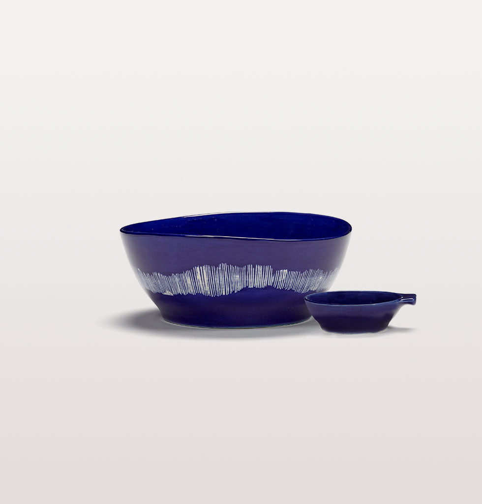 Ottolenghi x Serax. Lapis Lazuli and Swirl Stripes White large bowl and Lapis Lazuli and Swirl Stripes White small tapas plate. wagreen.co.uk