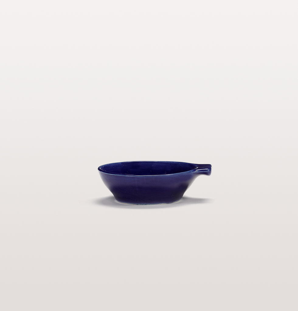 Ottolenghi x Serax. Lapis Lazuli and Swirl Stripes White small tapas plate side view. £9 wagreen.co.uk