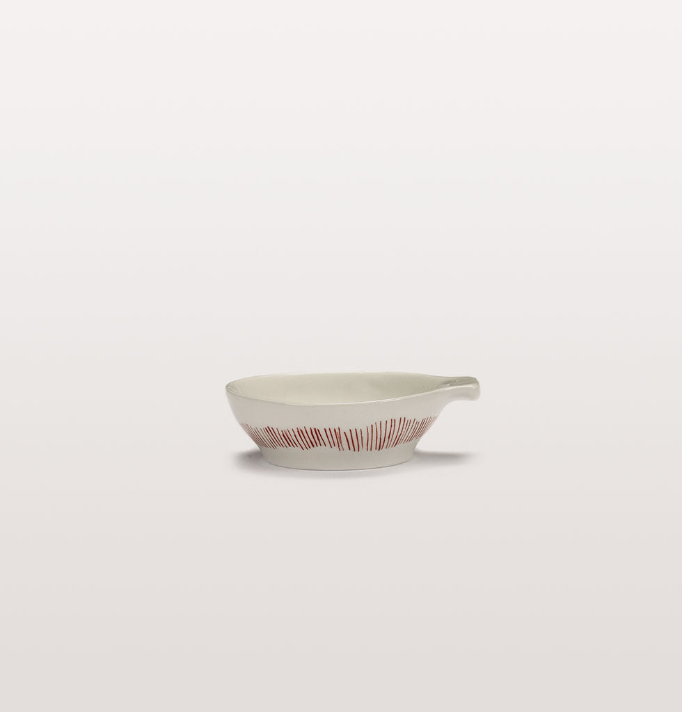 Ottolenghi x Serax. White and Swirl Stripes Red small tapas plate side view. £9 wagreen.co.uk