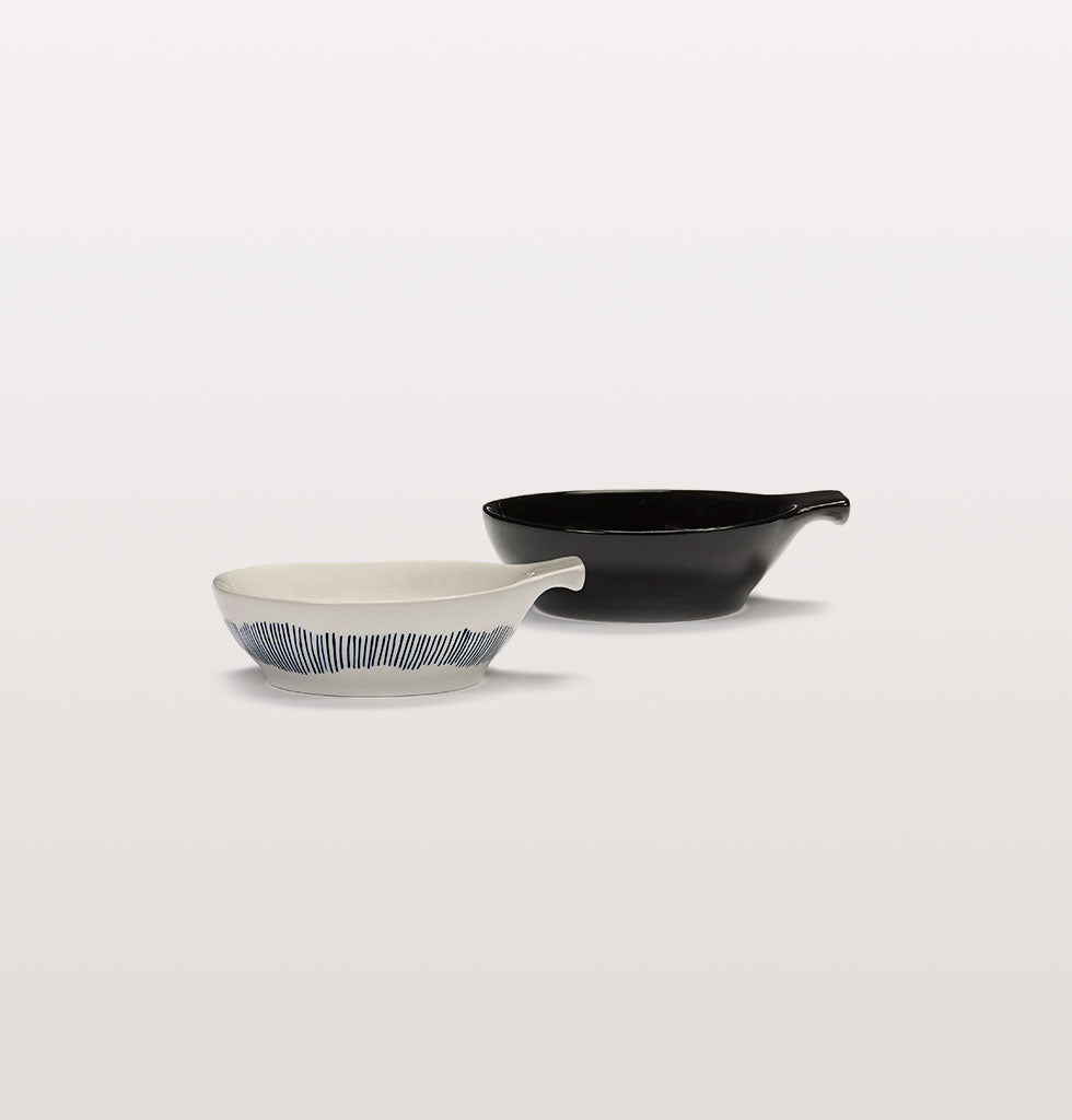 Ottolenghi x Serax. White and Swirl Stripes Blue and Black large tapas plates side view. wagreen.co.uk
