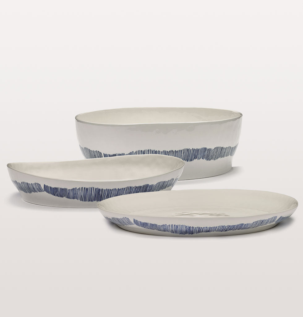 Ottolenghi x Serax. White and Swirl Stripes Blue medium serving dish, small serving dish and salad bowl. wagreen.co.uk