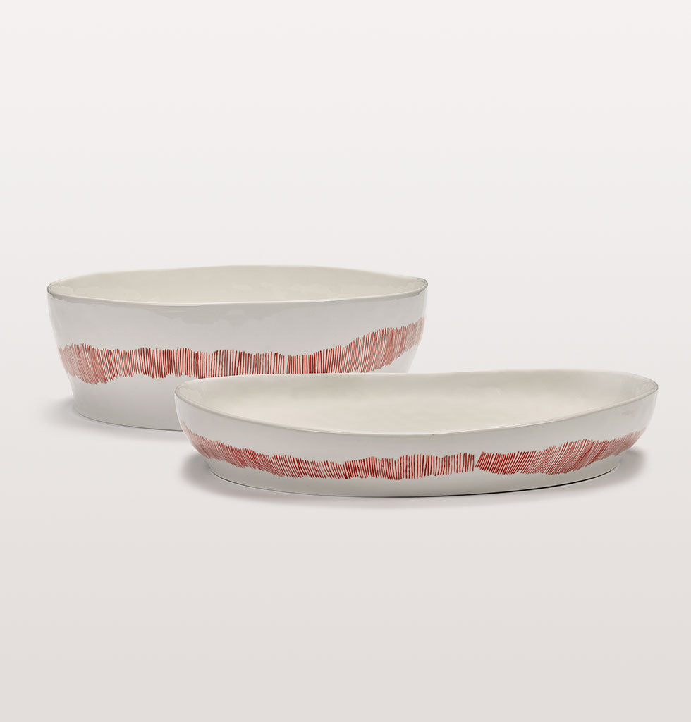 Ottolenghi x Serax. White and Swirl Stripes Red and large serving plate. wagreen.co.uk