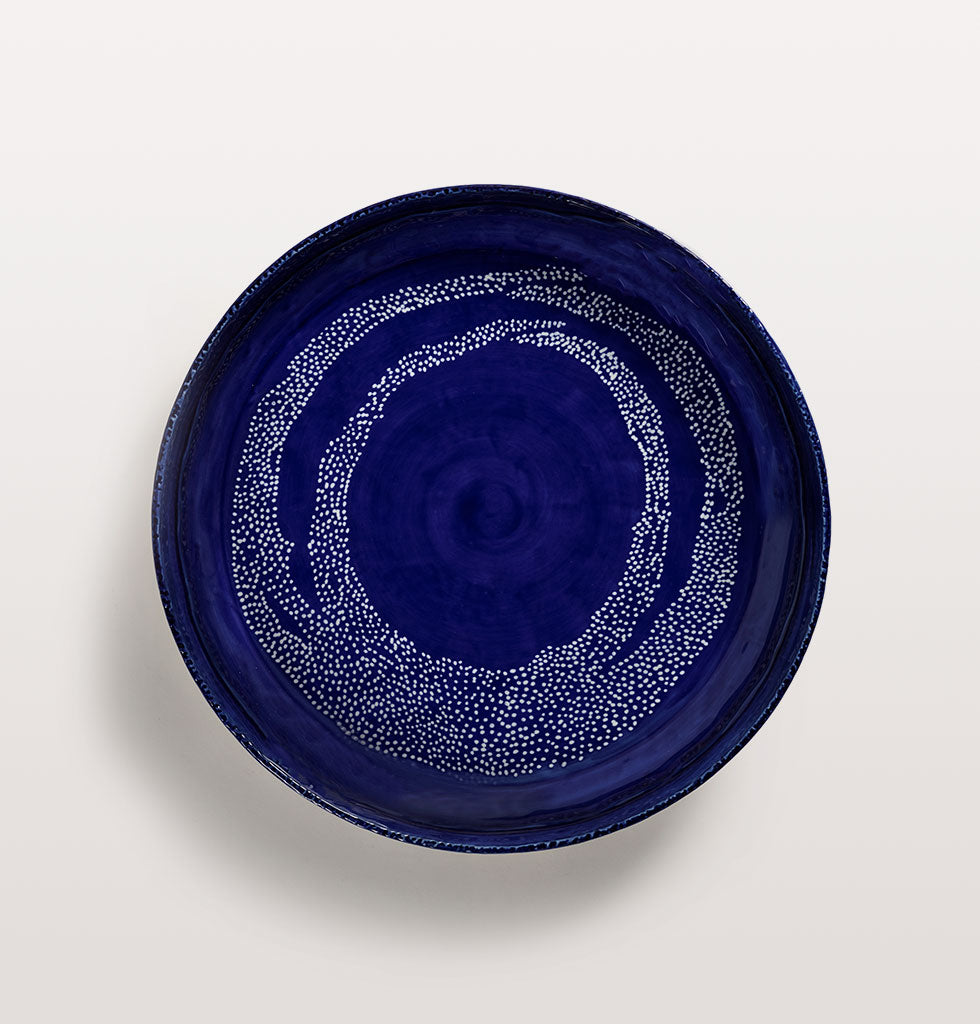 Ottolenghi x Serax. Lapis Lazuli and Swirl Dots White large serving plate top view. £85 wagreen.co.uk