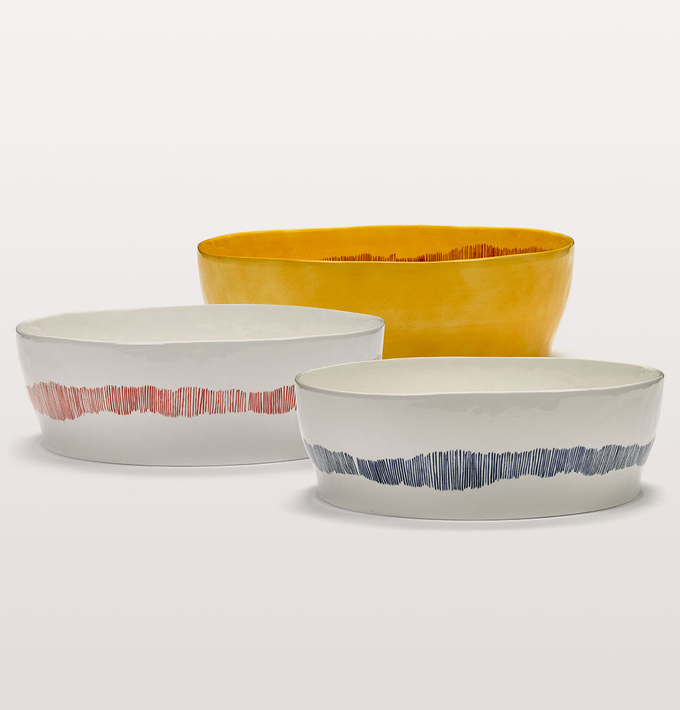 Super salad bowls for your superfood by Ottolenghi.   The Feast serving dishes and plates are a lesson in refined casualness, informal but abundant in their colour and form.  These high sided round ceramic bowls make presenting your food a joy, let the good times roll. wagreen.co.uk