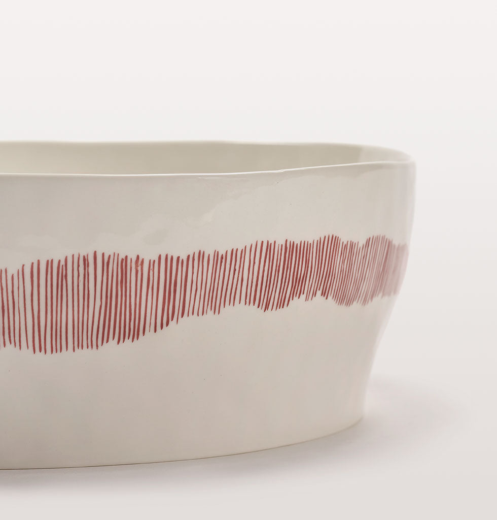 Ottolenghi x Serax. White and Swirl Stripes Red close up. £70 wagreen.co.uk