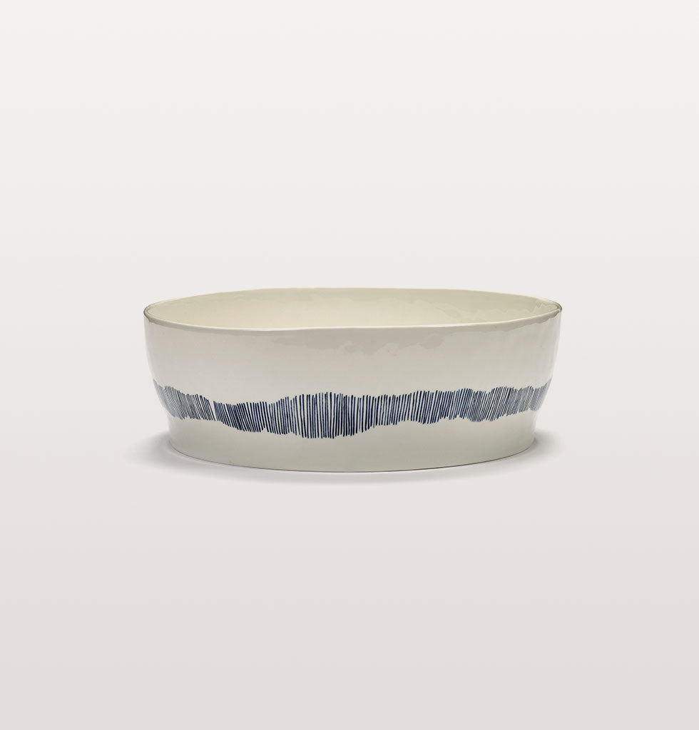 Ottolenghi x Serax. White and Swirl Stripes Blue side view. £70 wagreen.co.uk