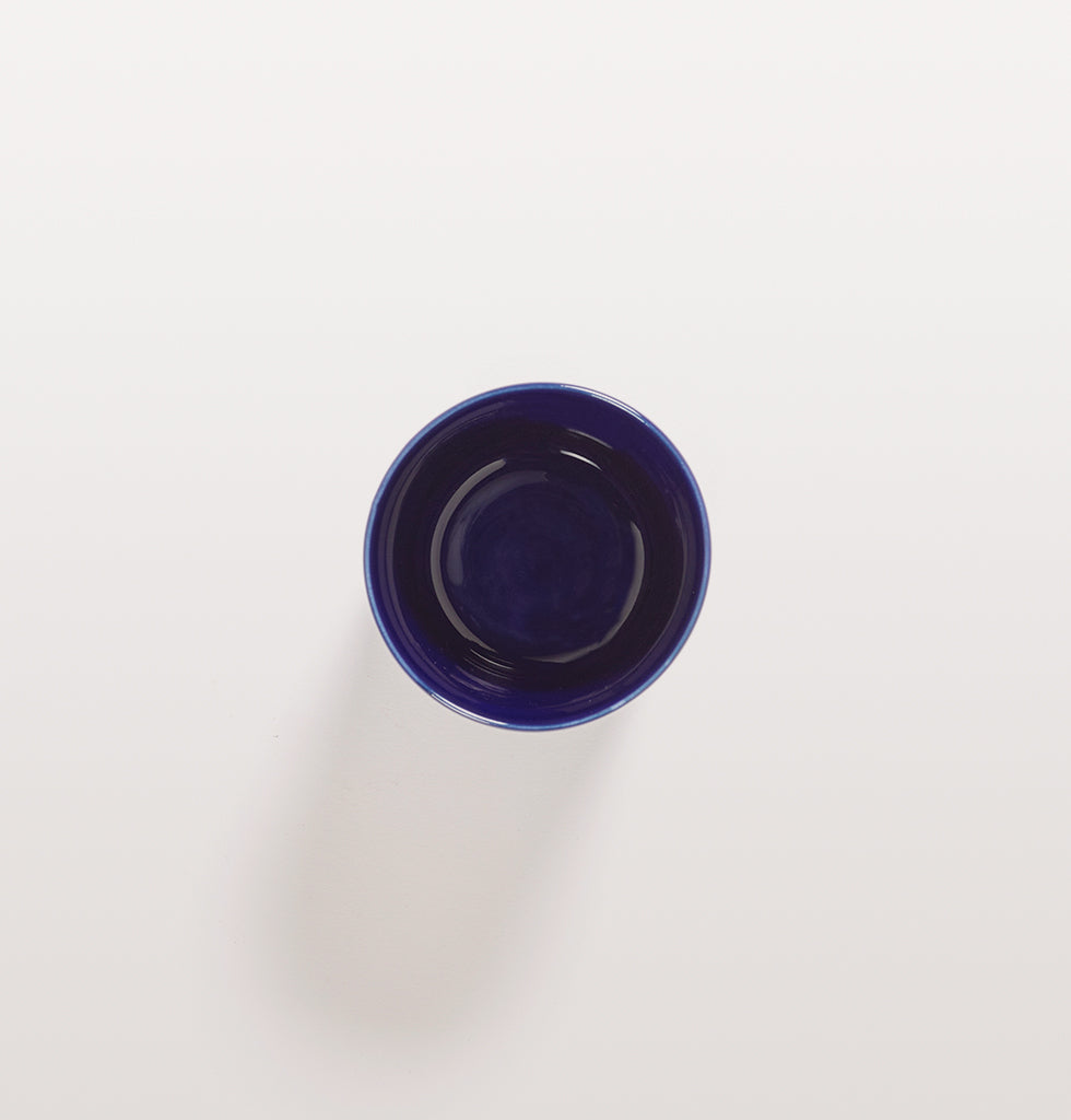 Ottolenghi x Serax. Lapis Lazuli and Swirl Stripes White coffee cup top view. £10 wagreen.co.uk