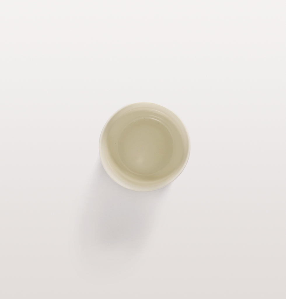 Ottolenghi x Serax. White and Swirl Stripes Blue coffee cup top view. £10 wagreen.co.uk