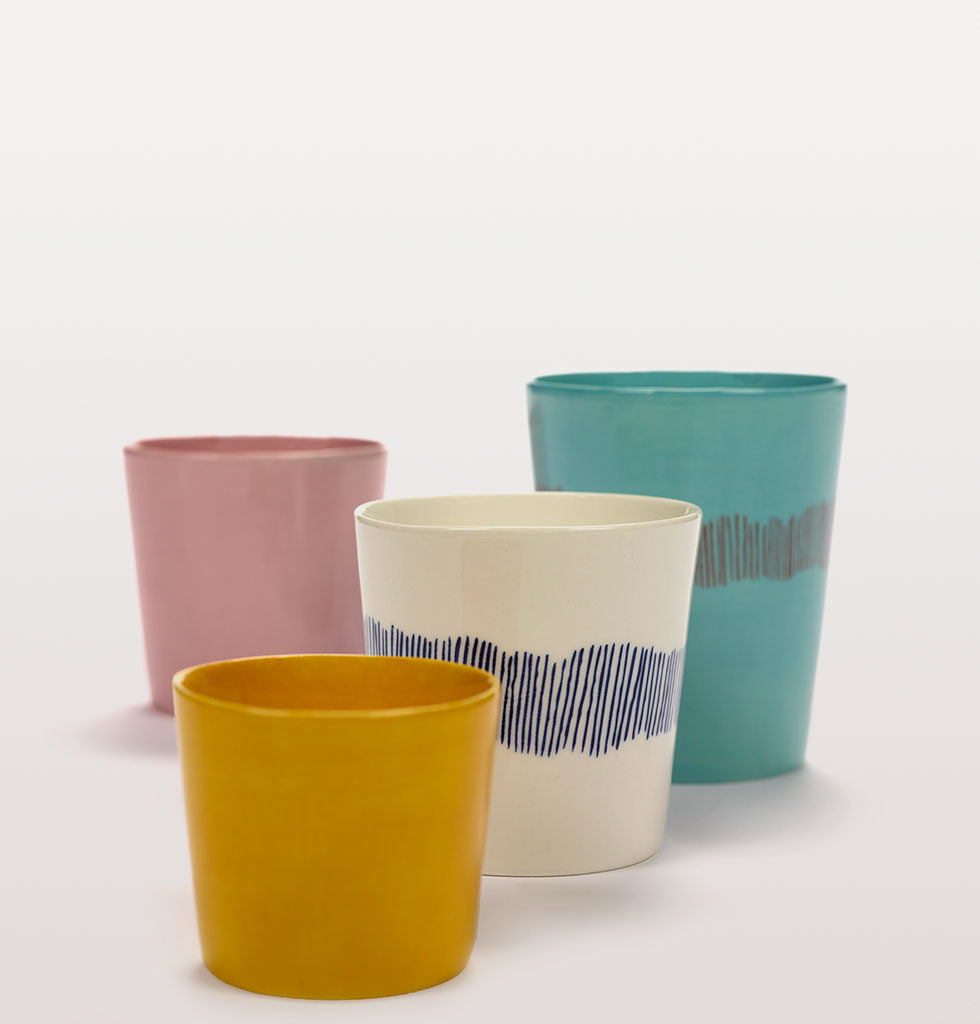 Ottolenghi x Serax. Sunny Yellow espresso cup, Delicious Pink and White Swirl Stripe Blue coffee cups and Azure and Swirl Stripes Red tea cup. wagreen.co.uk