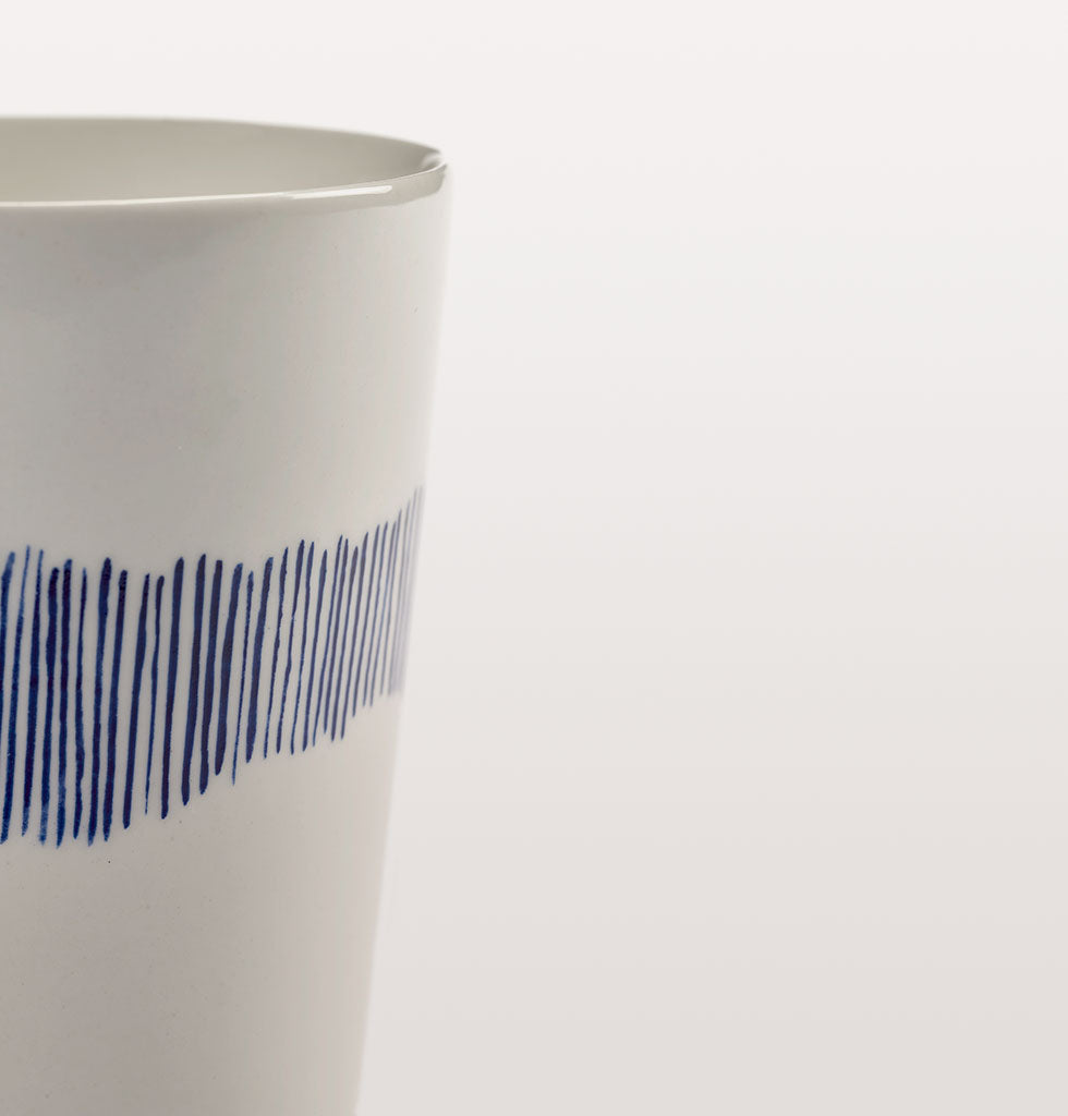 Ottolenghi x Serax. White and Swirl Stripes Blue tea cup close up. £12 wagreen.co.uk