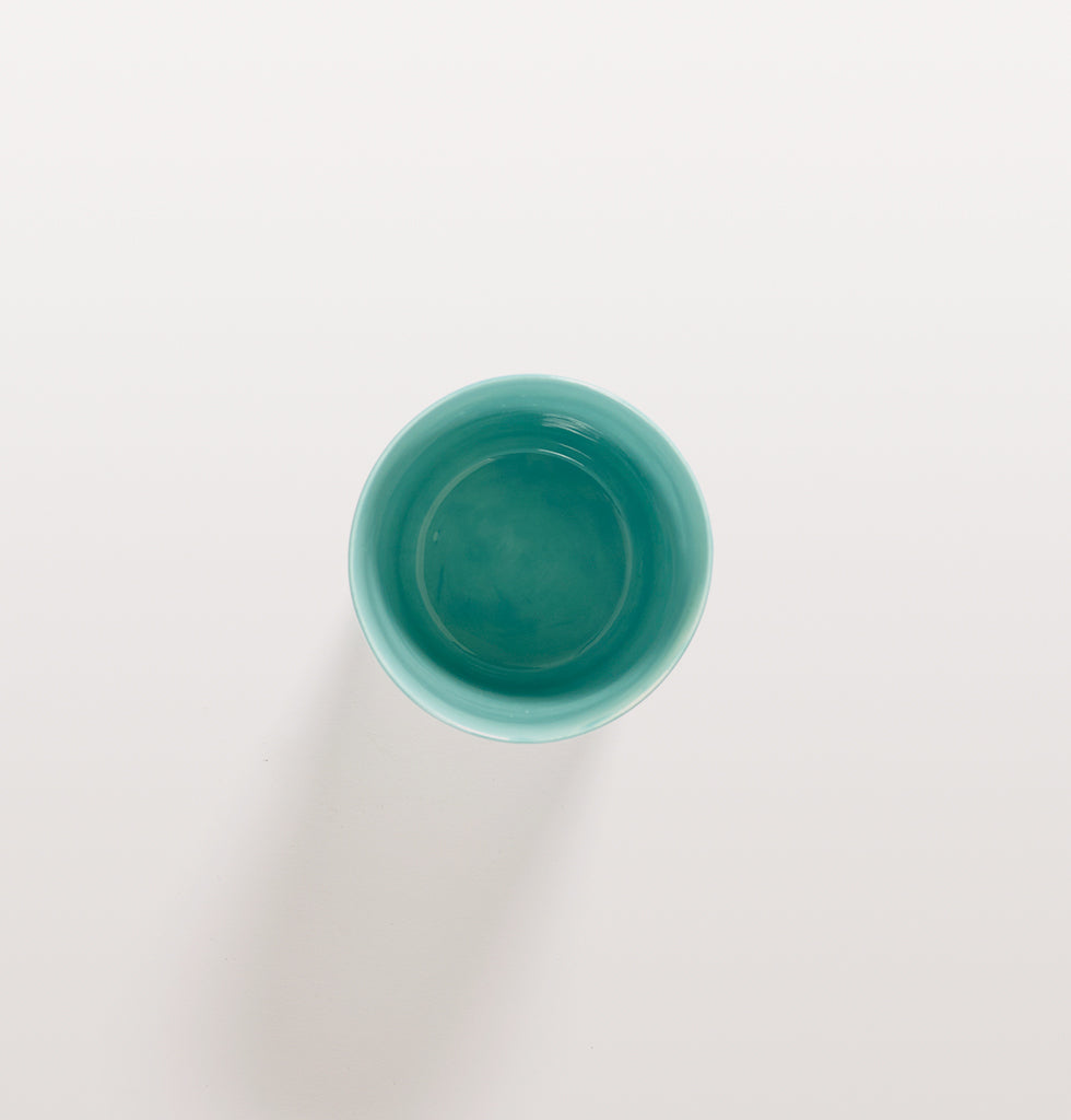 Ottolenghi x Serax. Azure and Swirl Stripes Red tea cup top view. £12 wagreen.co.uk