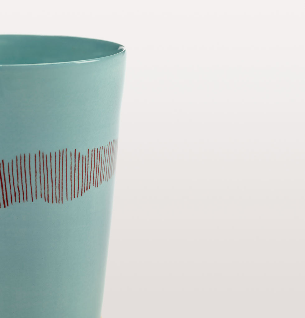 Ottolenghi x Serax. Azure and Swirl Stripes Red tea cup close up. £12 wagreen.co.uk