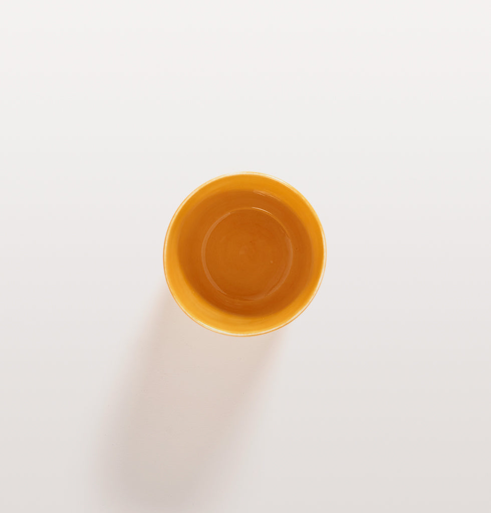 Ottolenghi x Serax. Sunny Yellow tea cup top view. £12 wagreen.co.uk