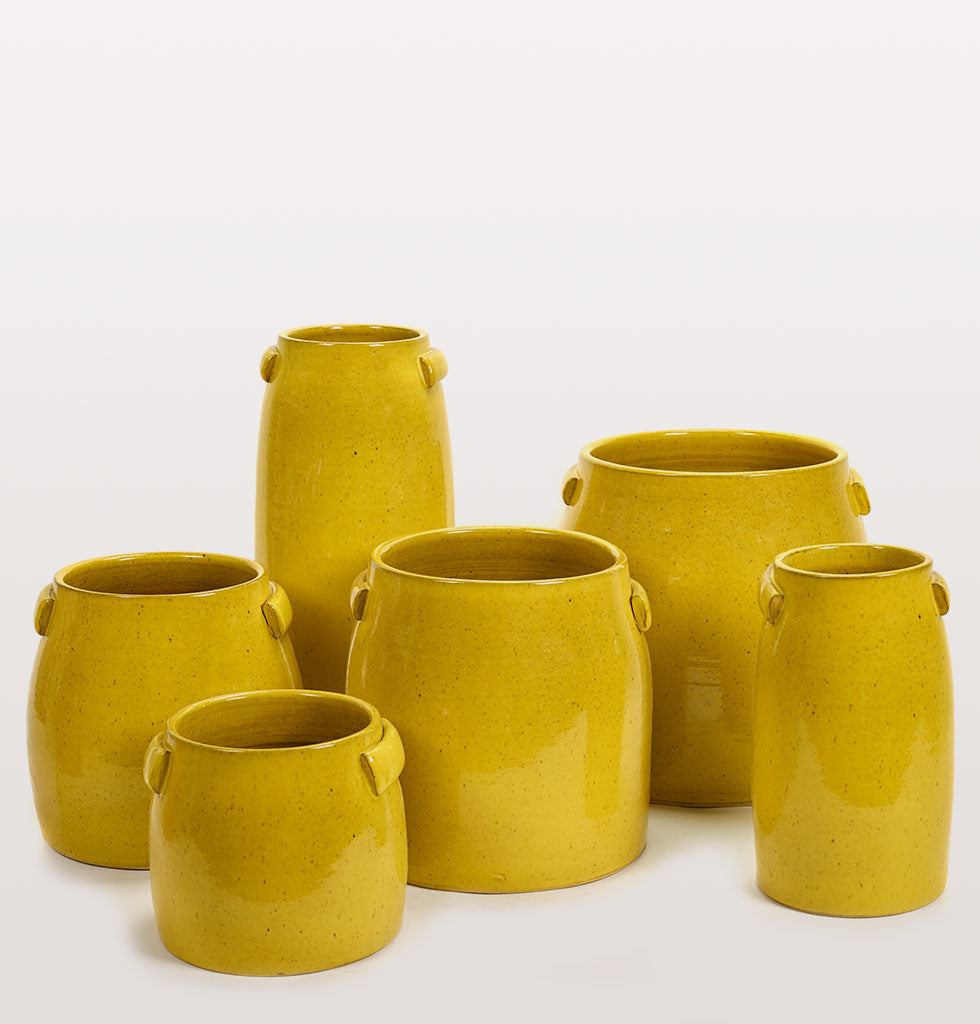 Contemporary yellow garden patio terrace planter by Serax. Tabor yellow planter for indoor and outdoor use