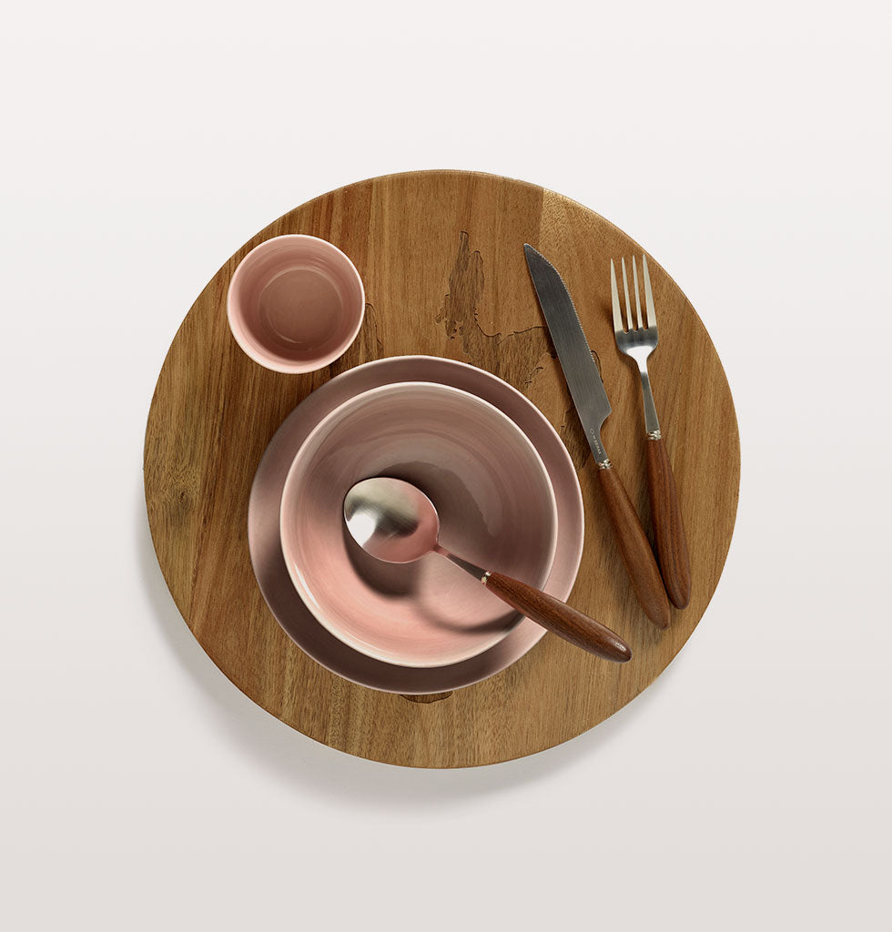 Ottolenghi x Serax. Delicious Pink bowl and plate with cup and Feast cutlery and wooden tray. wagreen.co.uk