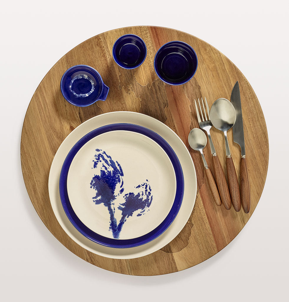 Ottolenghi x Serax | Blue tableware | White & Artichoke Blue small plate with blue and white tableware and Lapis Lazuli and Swirl Stripes White small tapas plate. Feast cutlery and wooden tray. wagreen.co.uk