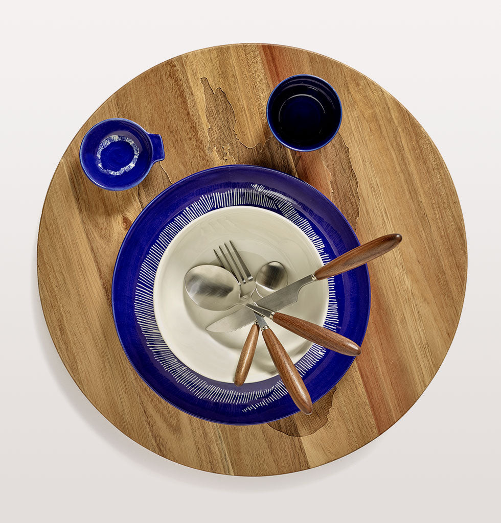 Ottolenghi x Serax | Blue tableware | Lapis Lazuli & Swirl Dots White serving plate with blue and white tableware and Lapis Lazuli and Swirl Stripes White small tapas plate. Feast cutlery and wooden tray. wagreen.co.uk