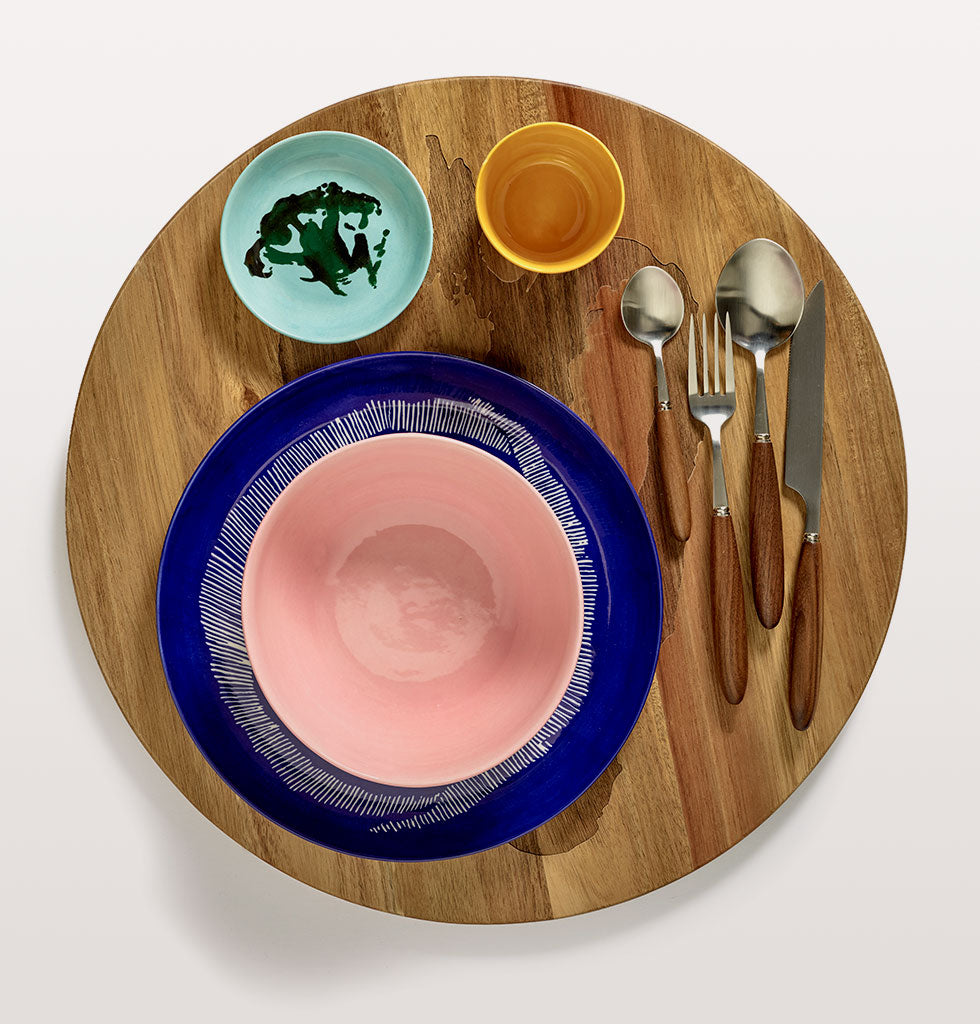 Ottolenghi x Serax | Delicious Pink small plate with Lapis Lazuli and Swirl Stripes White large plate. Sunny Yellow cup and Azure and Broccoli Green small dish. Feast cutlery and wooden tray. wagreen.co.uk