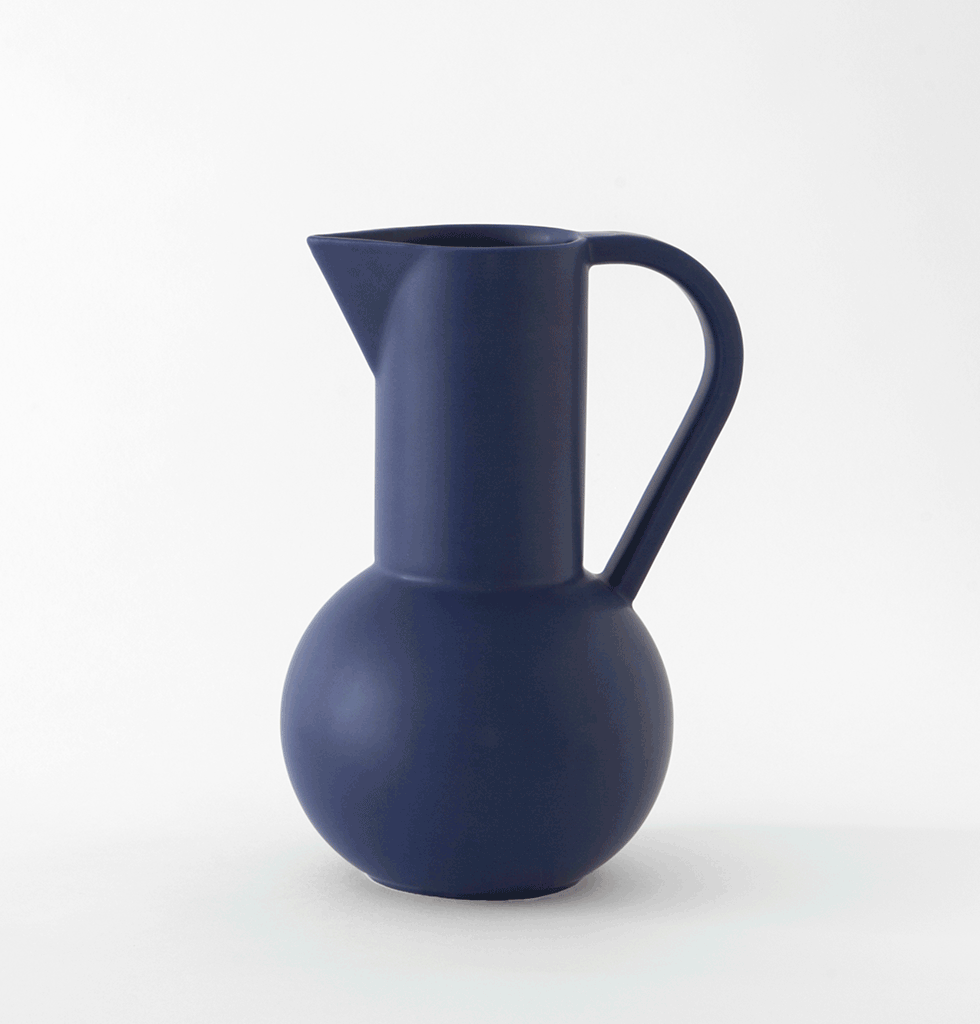 Raawii ceramic strom collection large dark navy blue jug with handle