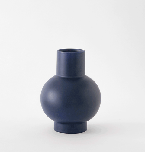 raawii ceramic strom navy blue large vase