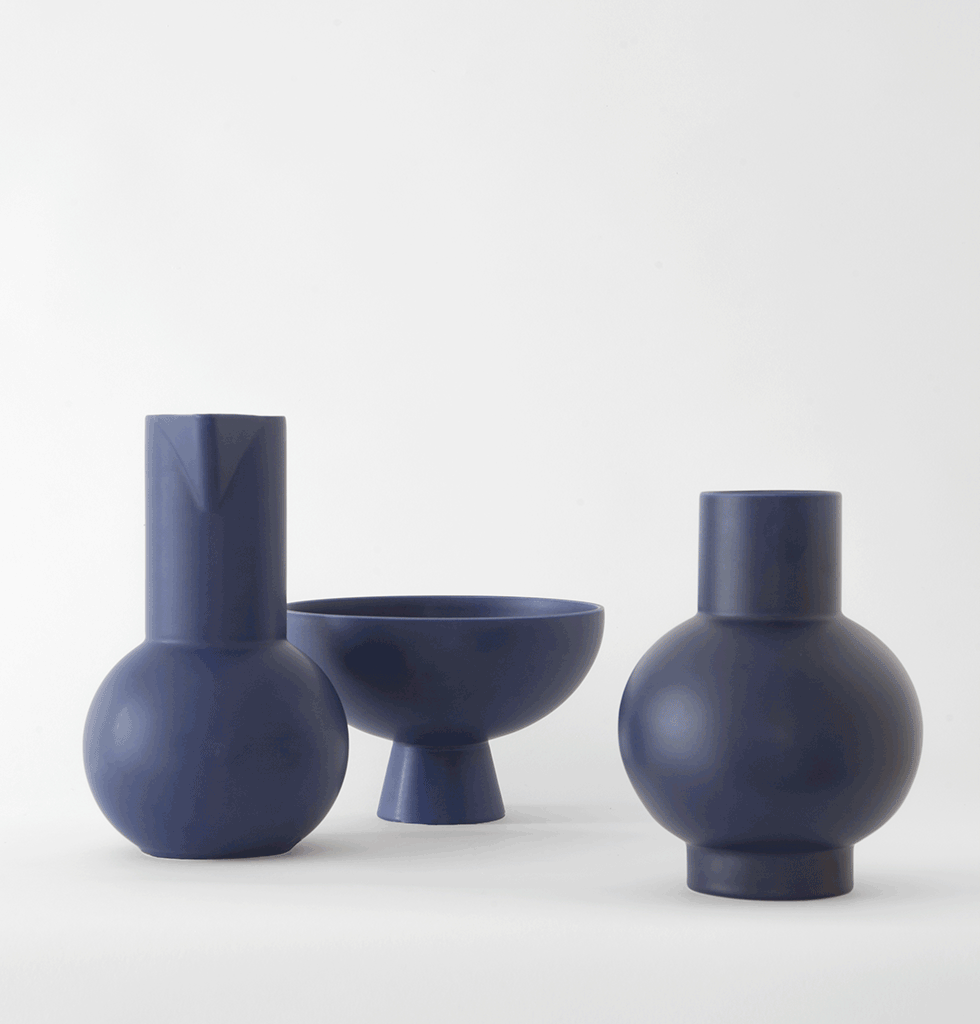 Small dark navy blue ceramic vase bowl and jug by Raawii Strom collection