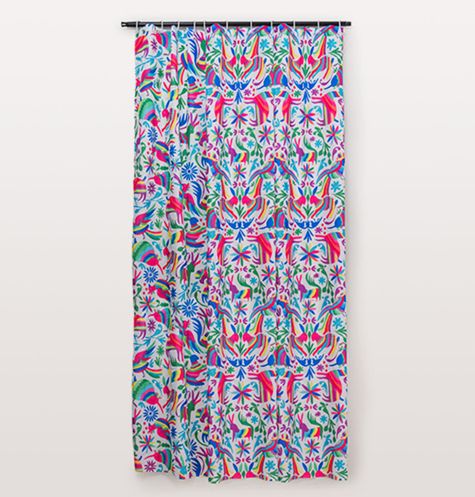 W.A.GREEN | KITSCH KITCHEN | Otomi shower curtain. £26. Vibrant and colourful shower curtain inspired by the traditional Otomi handicraft from Mexico.  Rainbow coloured flowers and fauna decorate this vivid shower curtain. Designed to hang neatly inside a bath or shower space.