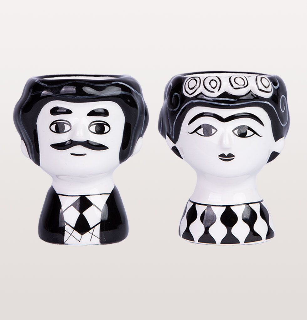 W.A.GREEN | KITSCH KITCHEN | Black and white Carlos and Marisol egg cup set. £17 wagreen.co.uk