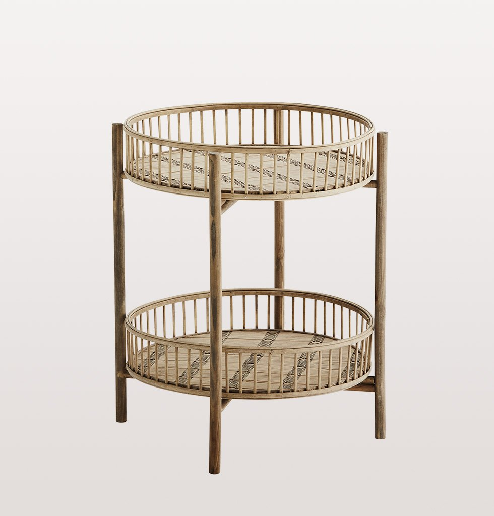 Bamboo double tiered round side table by Madam Stoltz
