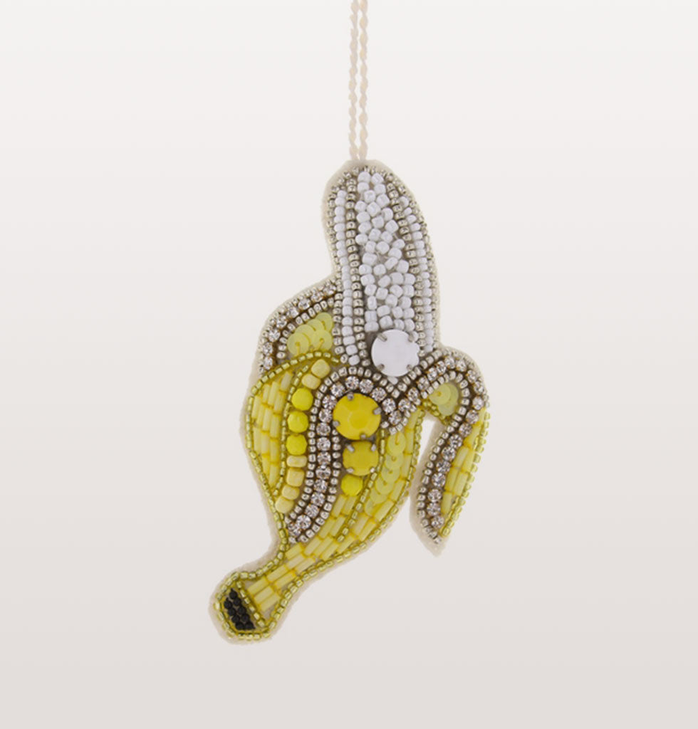 Go bananas! Bring tropical vibe to your festive home and party like you're in the Bahamas with this fruity jewelled banana tree ornament.   Hand made jewelled diamante and yellow beaded fabric banana tree decoration.