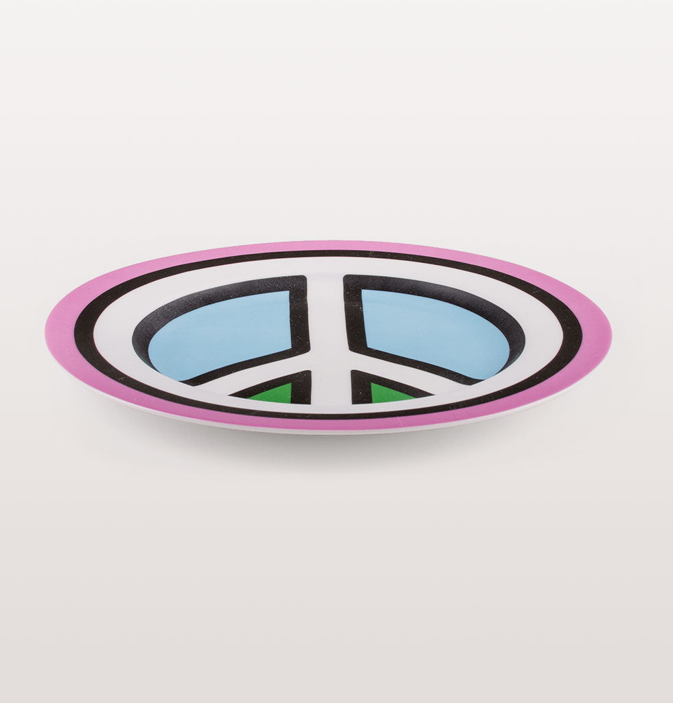 Peace and love. From the Blow Diner collection by Studio Job for Seletti this bold dinner plate conveys a strong message with your morning avocado on toast.  Fabulous wall plate in pink blue and green design with iconic white peace symbol.  Presented in fun Diner style gift box.
