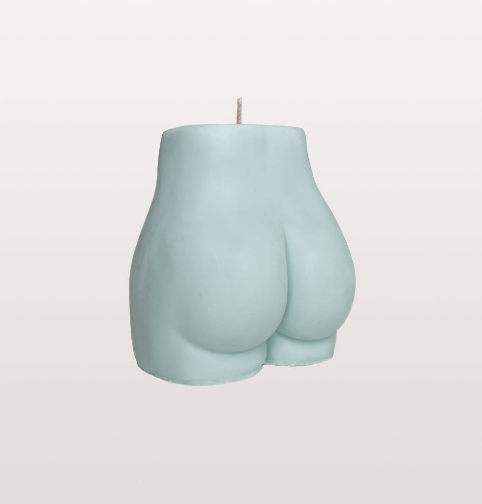Blue nude bum bum candle by Pose Wax for wagreen.co.uk. £18