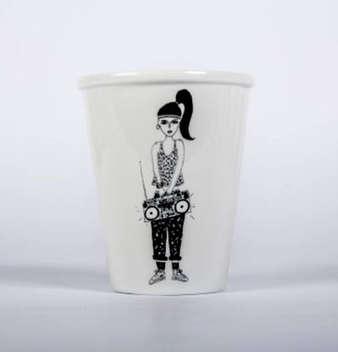Boom box tape recorder music girl cup by Helen B