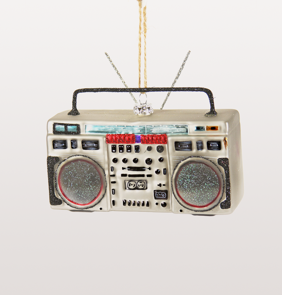 SILVER BOOMBOX CHRISTMAS DECORATION