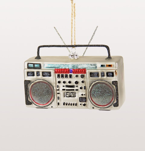 SILVER BOOMBOX KITSCH GLASS CHRISTMAS DECORATION
