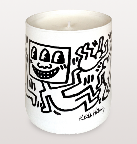 KEITH HARING WHITE CANDLE WITH BLACK DANCER DRAWINGS