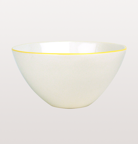 ABBESSES WHITE & YELLOW LARGE SALAD BOWL by CANVAS HOME