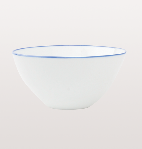 Canvas home, small  white porcelain bowl. Hand painted blue rim for fine dining or casual dinnerware