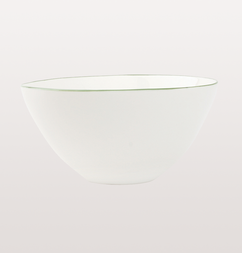 Canvas home, small  white porcelain bowl. Hand painted green rim for fine dining or casual dinnerware